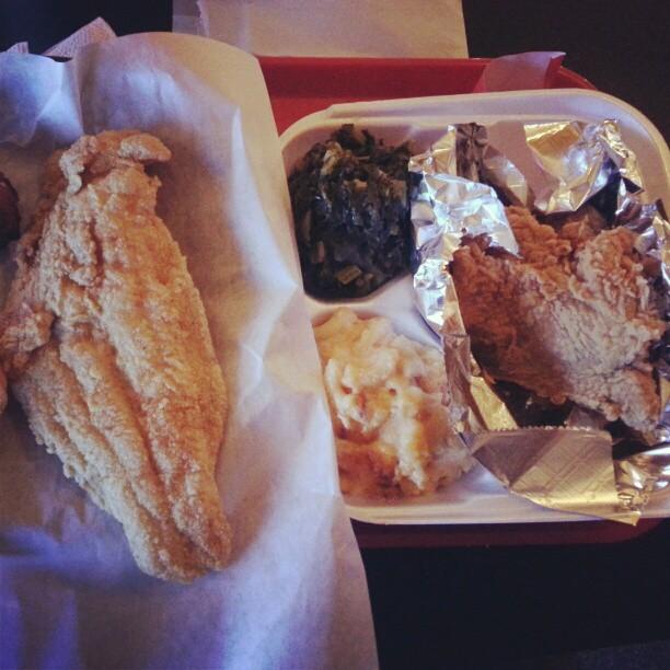 Catfish, fried chicken, collard greens, Mac & cheese. #soulfood